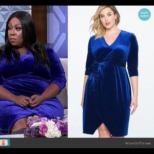 Eloquii Women Velvet Wrap Dress Size 18 Blue